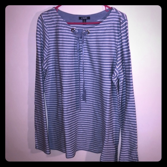 Chaps Tops - NEW Women's Chaps Blue & White Striped Top Large